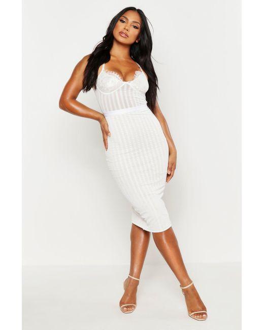 b3bcb5c46fb Boohoo - White Lace Cup Striped Mesh Midi Bodycon Dress - Lyst ...