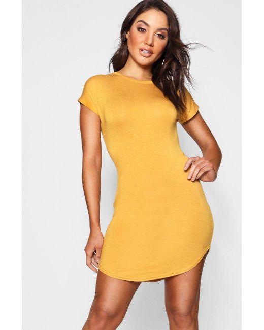 Boohoo Orange Basic Curved Hem T-shirt Dress