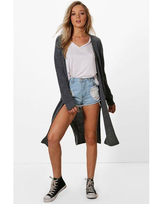 Boohoo | Gray Camilla Side Split Maxi Cardigan | Lyst