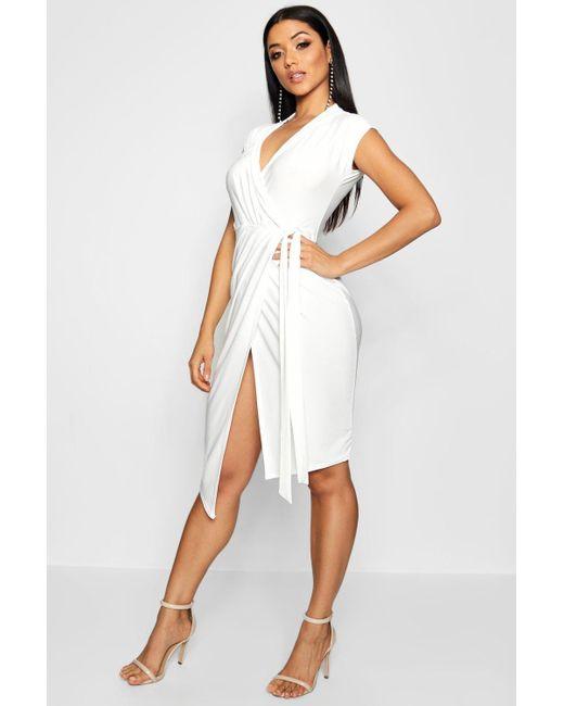 070d198d625da Boohoo - White Wrap Front Midi Dress - Lyst ...