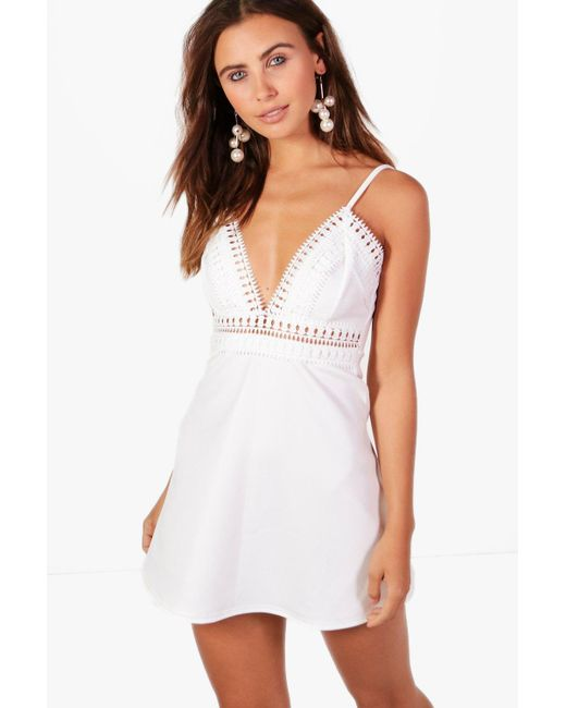 Boohoo | White Petite Tilly Trim Detail Skater Dress | Lyst