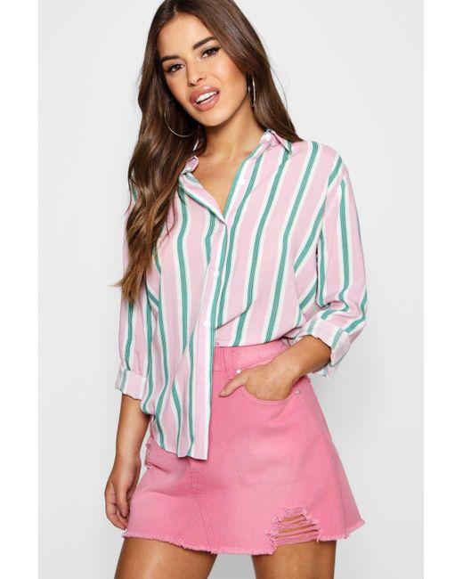 Boohoo - Pink Petite Aimee Candy Stripe Oversized Shirt - Lyst