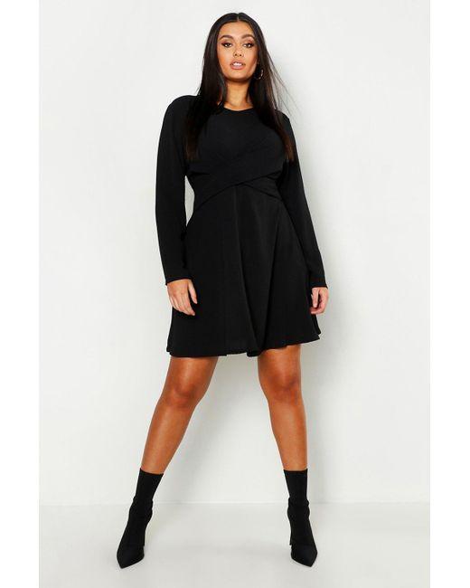 b904b890ba576 Boohoo - Black Plus Wrap Front Woven Skater Dress - Lyst ...