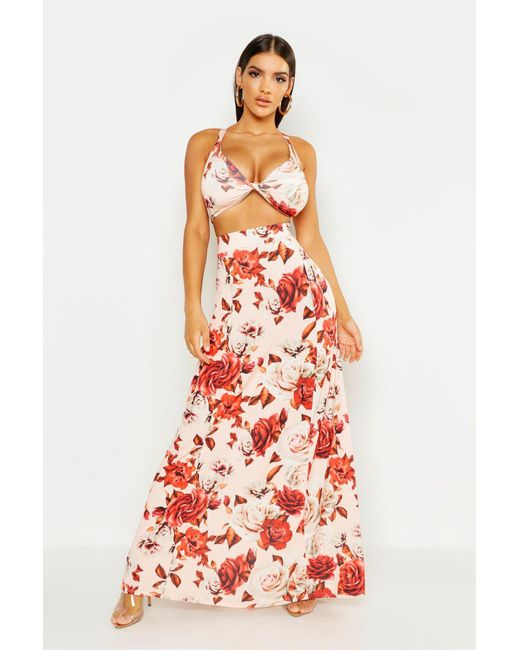e876fe36c84f3 Boohoo - Red Large Floral Maxi Skirt And Bralet Co-ord - Lyst ...