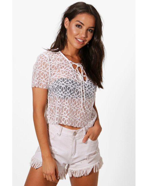 Boohoo - White Megan Lace Up Beach Top - Lyst