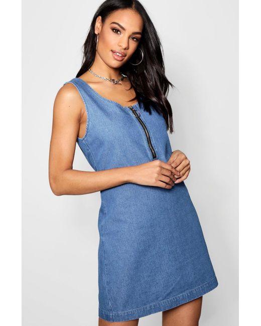 92a069ce600 Boohoo - Blue Sleeveless Zip Front Denim Dress - Lyst ...
