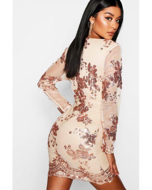 b8427484c9a0 ... Boohoo - Metallic Boutique Sequin Print Mesh Bodycon Dress - Lyst