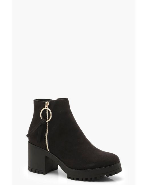 e1dbec4b8782 Boohoo - Black O Ring Zip Trim Cleated Ankle Shoe Boots - Lyst ...