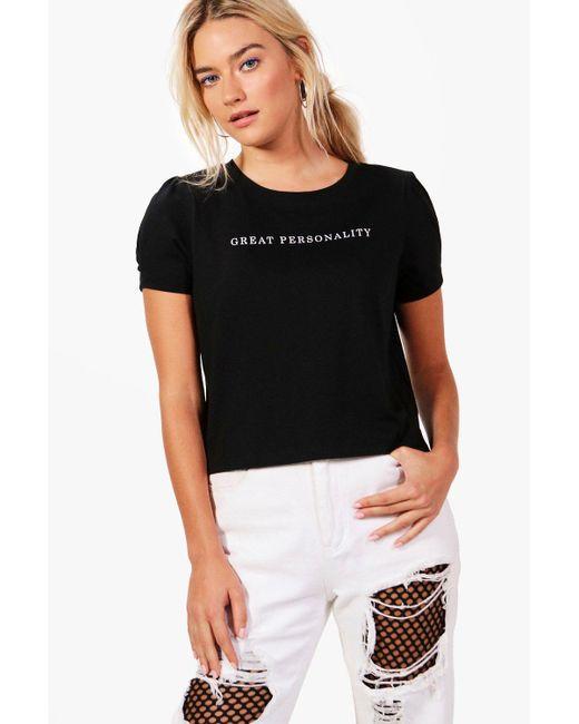 Boohoo | Black Maisie Slogan Shoulder Pad Tee | Lyst