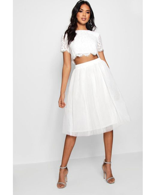 40d8a5946 Boohoo - White Woven Lace Top & Contrast Midi Skirt Co-ord - Lyst ...