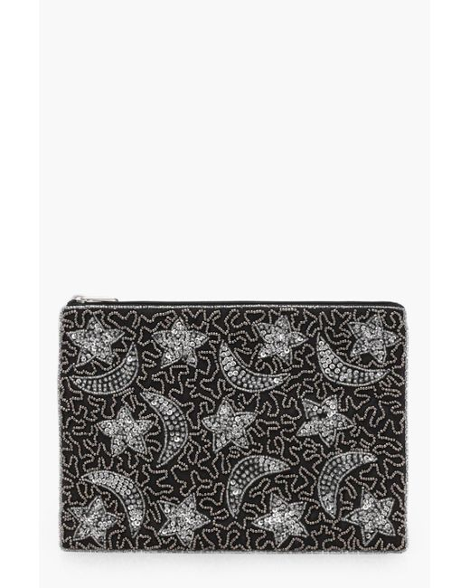 Boohoo - Black Ella Moon And Stars Embellished Clutch Bag - Lyst