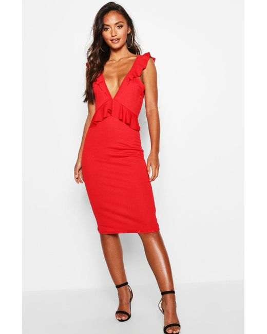 24ec053d4bcd1 Boohoo - Red Petite Tie Back Frill Detail Midi Dress - Lyst ...