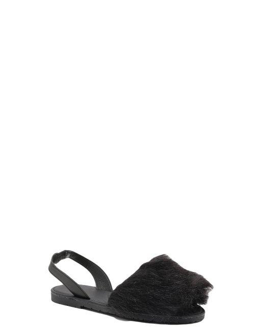 Boohoo - Black Faux Fur Peeptoe Sling Back Sandals - Lyst