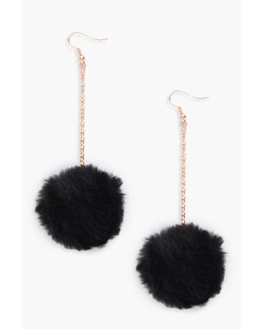Boohoo - Black Pom Pom Faux Fur Drop Earrings - Lyst