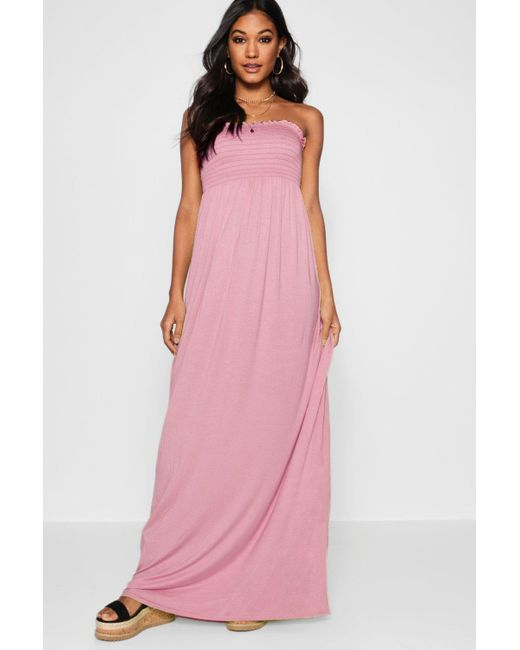 Boohoo Pink Shirred Bandeau Maxi Dress