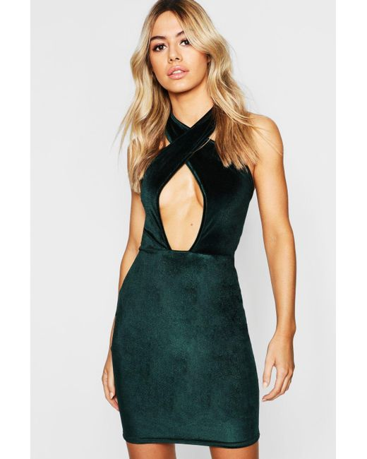 5162e0d8435e Boohoo - Green Petite Cross Front Velvet Bodycon Dress - Lyst ...