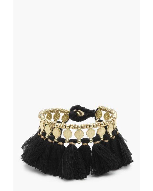 Boohoo - Black Nia Hammered Coin Tassel Cuff Bracelet - Lyst