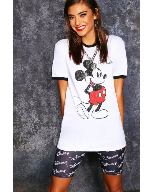Boohoo - White Disney Mickey Original Ringer Tee - Lyst