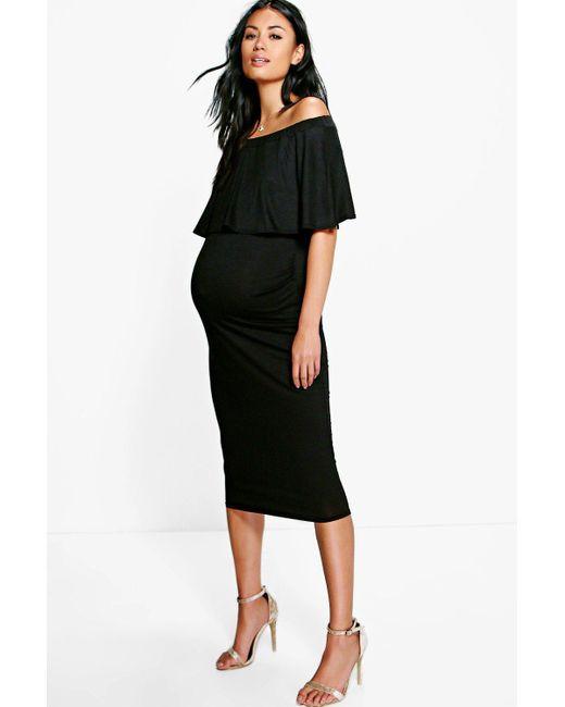 Boohoo Black Maternity Off The Shoulder Midi Dress