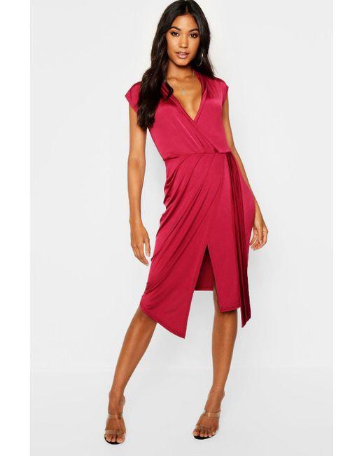 ad032c9a07f1 Boohoo - Red Wrap Front Midi Dress - Lyst ...