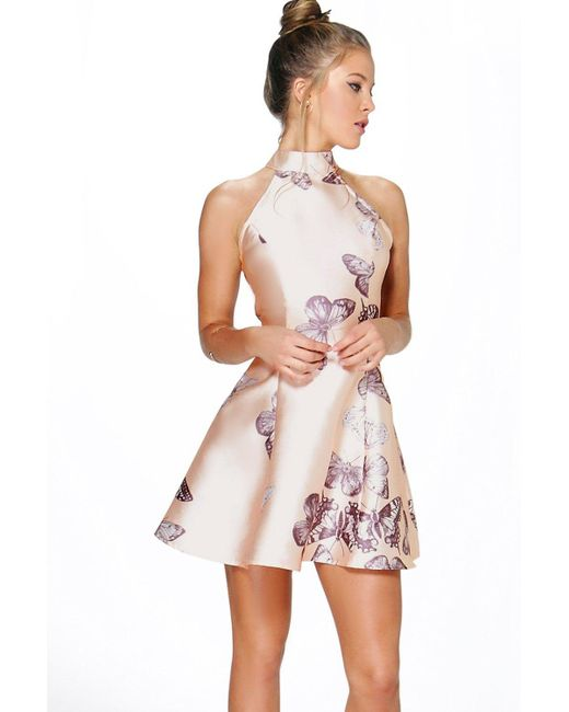 Boohoo - Natural Sateen Butterfly Print Fit And Flare Dress - Lyst