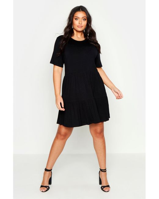 575b4501a454 Boohoo - Black Plus Tiered Basic Smock Dress - Lyst ...