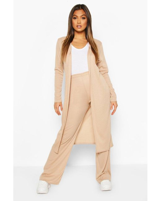 Ensemble Gilet En Maille Douce Et Pantalon Boohoo en coloris Natural