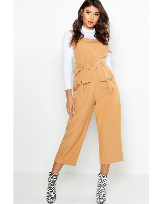 Boohoo - Multicolor Belted Utility Cargo Pocket Pinafore Jumpsuit - Lyst