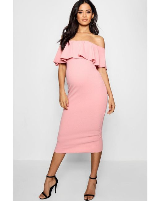 Boohoo Maternity Scallop Off Shoulder Midi Dress in Pink - Lyst