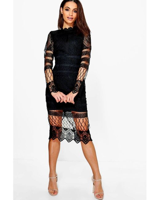 afbdf67f3b0c Boohoo - Black Boutique Lace Panelled Midi Dress - Lyst ...