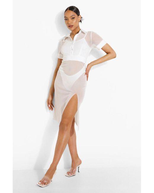 Vestido Estilo Camisa De Playa De Malla Boohoo de color White