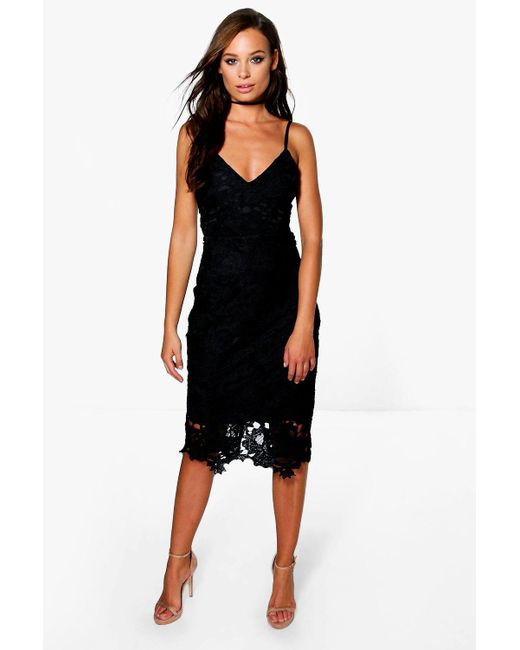 16c5ed590773 Boohoo - Black Boutique Crochet Lace Strappy Midi Dress - Lyst ...
