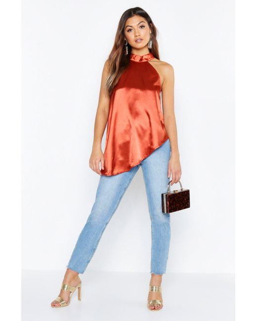 57eba28d459 Boohoo - Orange Satin High Neck Asymmetric Top - Lyst ...