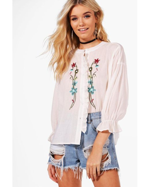 Boohoo | White Maisie Embroidered Ruffle Shirt | Lyst