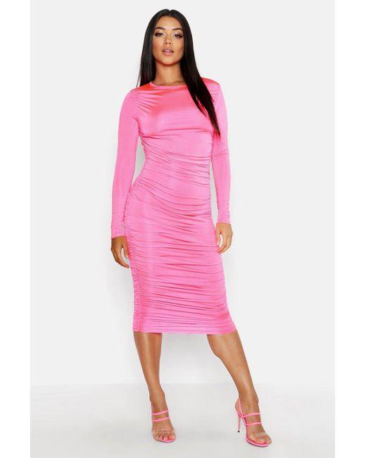 ef4acdb08971 Boohoo - Pink Ruched Side Midi Dress - Lyst ...