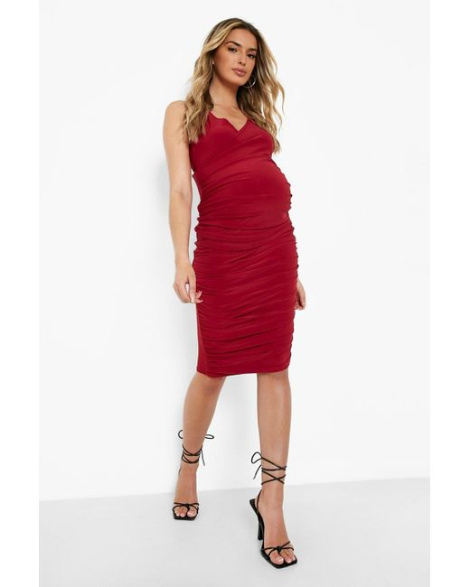 Boohoo Red Maternity Wrap Front Ruched Midi Dress