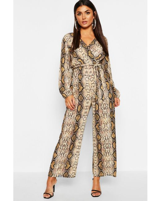 f2adc6fcff8 Boohoo - Multicolor Snake Print Wrap Belted Jumpsuit - Lyst ...