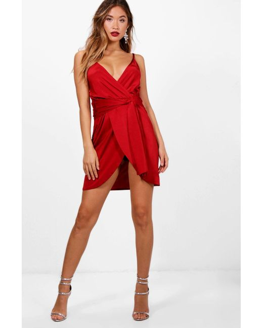 b46ebc0ad2f1 Boohoo - Red Wrap Belted Bodycon Dress - Lyst ...