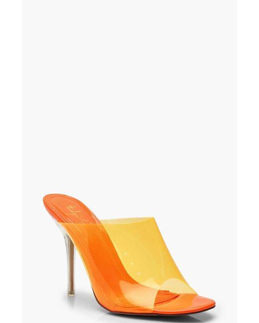 6931544fa281 Boohoo - Orange Clear Heel Peeptoe Mules - Lyst ...