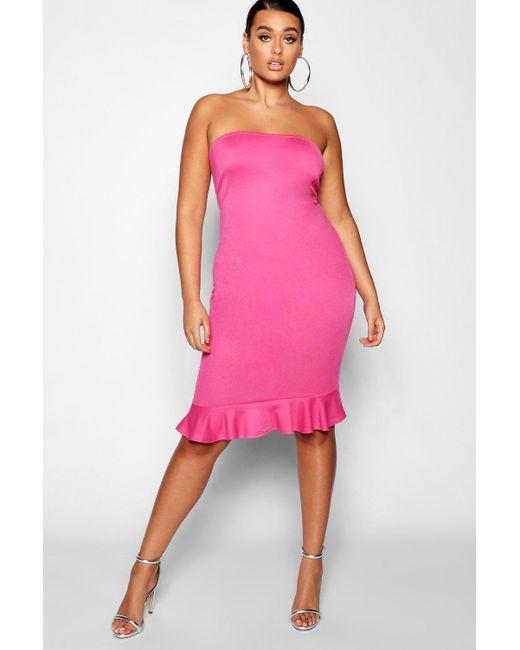 4882f2c1ec13 Boohoo Plus Square Neck Ruffle Hem Midi Dress in Pink - Save ...