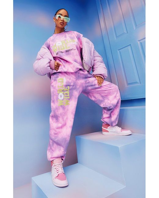 Boohoo Pink Tie Dye Worldwide Print Joggers
