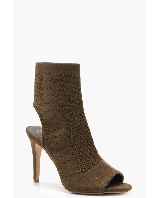 9c10c1d159db Boohoo - Multicolor Peeptoe Knitted Sock Boots - Lyst ...