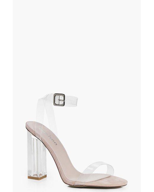 Boohoo - Multicolor Suedette Clear Block Heels - Lyst