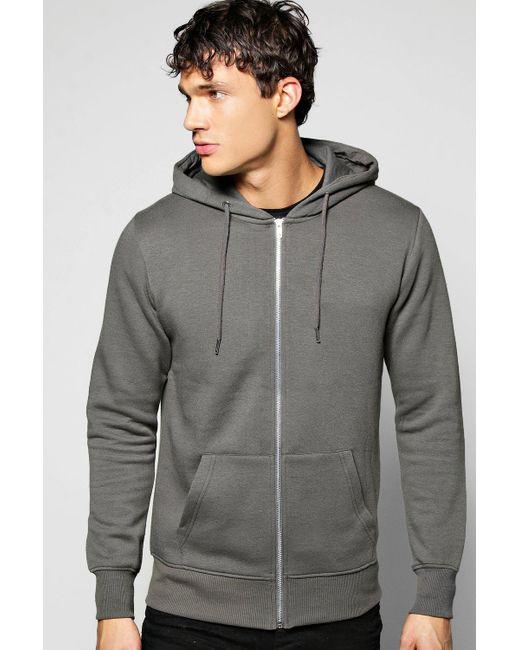 Boohoo | Gray Zip Through Hoodie for Men | Lyst
