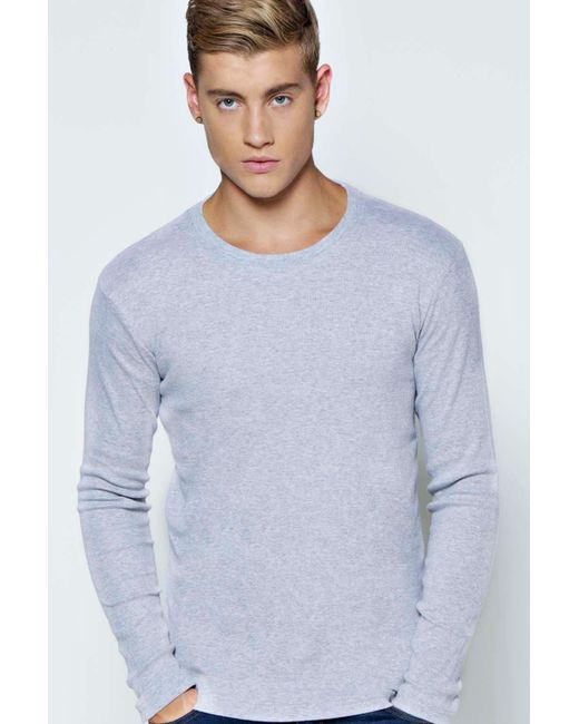 Boohoo long sleeve crew neck ribbed t shirt in gray for for Mens ribbed t shirts