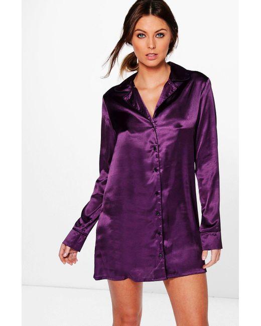 Boohoo | Purple Isabella Satin Night Shirt Dress | Lyst
