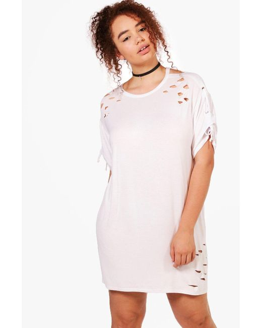 Boohoo | White Plus Louise Lace Up Shoulder Oversized T-shirt Dress | Lyst