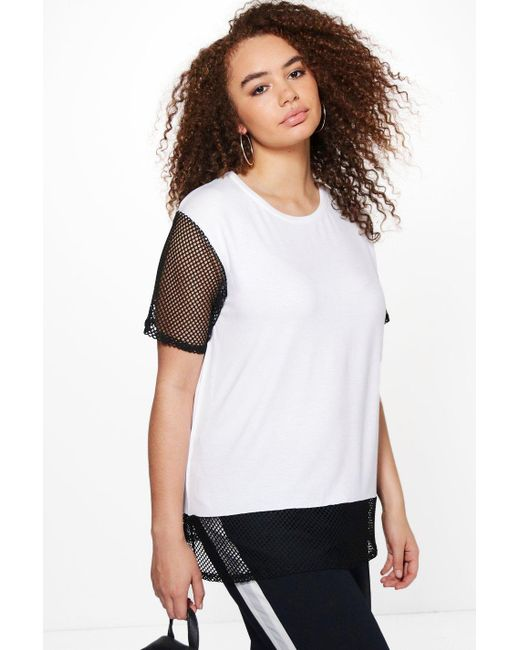 Boohoo Plus Hollie Oversized Mesh T Shirt In White Lyst