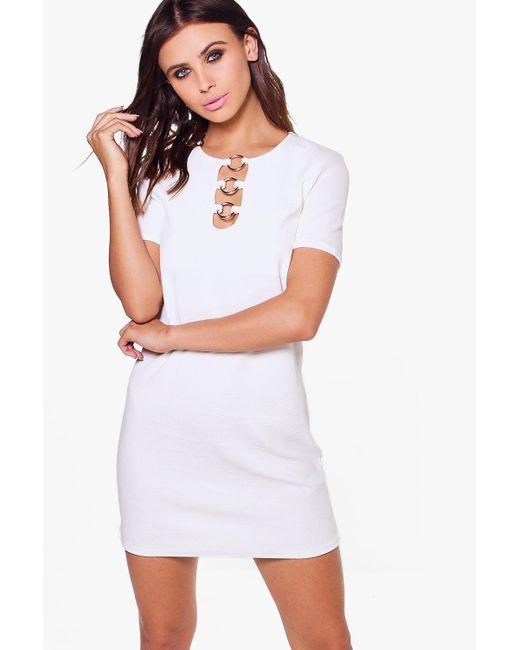 Boohoo   White Petite Olivia Ring Detail Shift Dress   Lyst