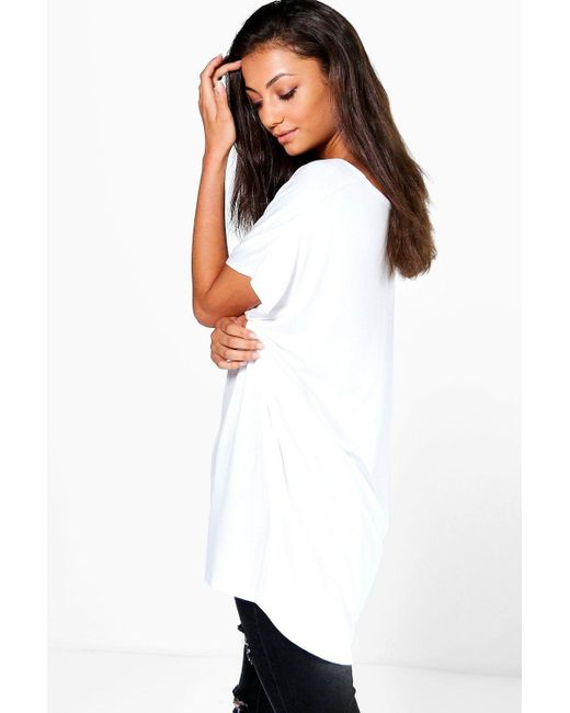 Boohoo tall jasmine oversized v neck basic tee in black lyst for Womens tall v neck t shirts